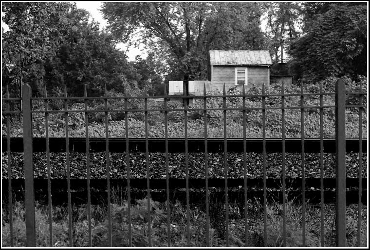 Pointed fence, railroad tracks, legal penalties, kudzu