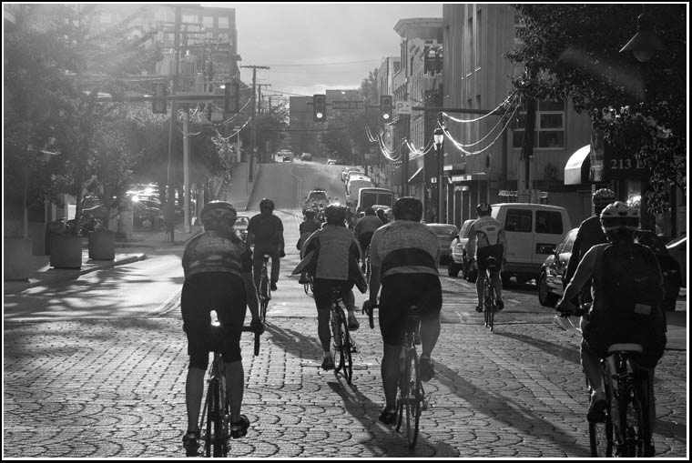 cyclists on Water Street