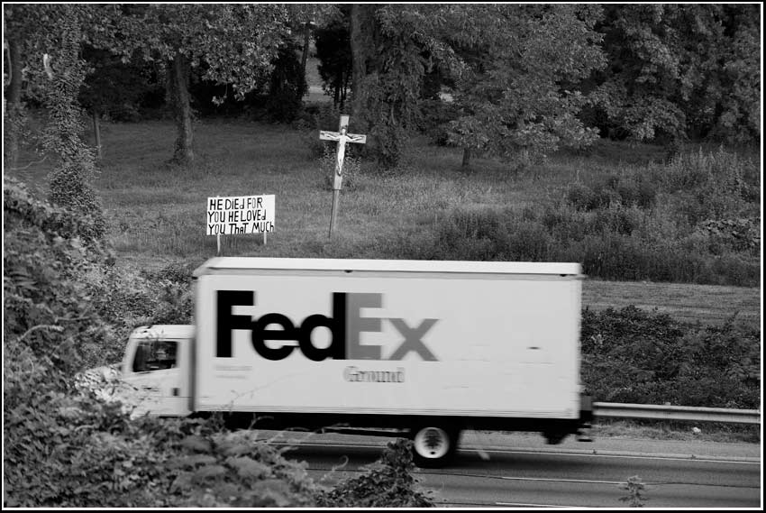 Jesus cross FedEx interstate
