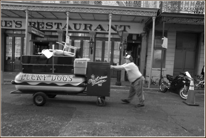 hot dog cart, New Orleans