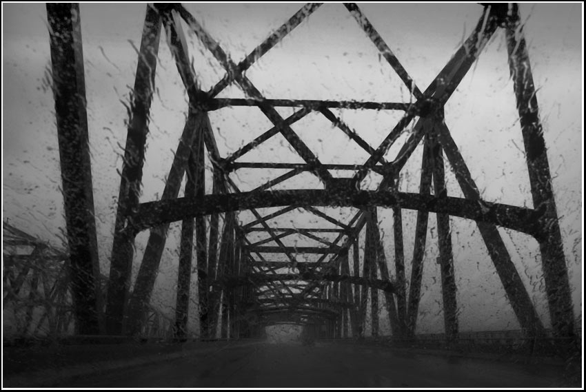 steel bridge rain