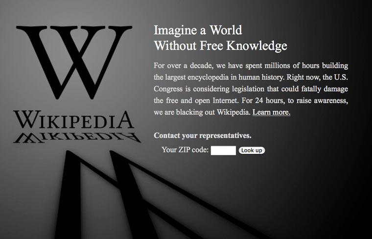 wikipedia blacked out