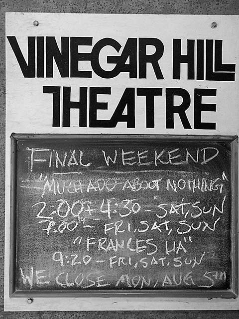 vinegar hill theater blackboard