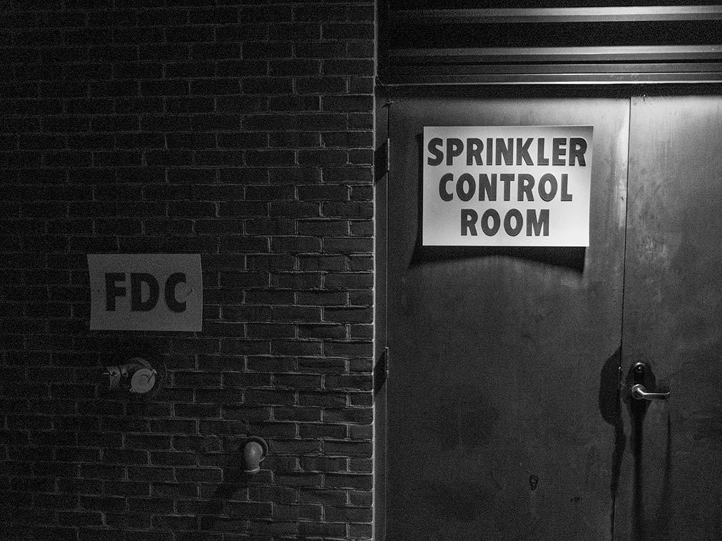 sprinkler control room sign