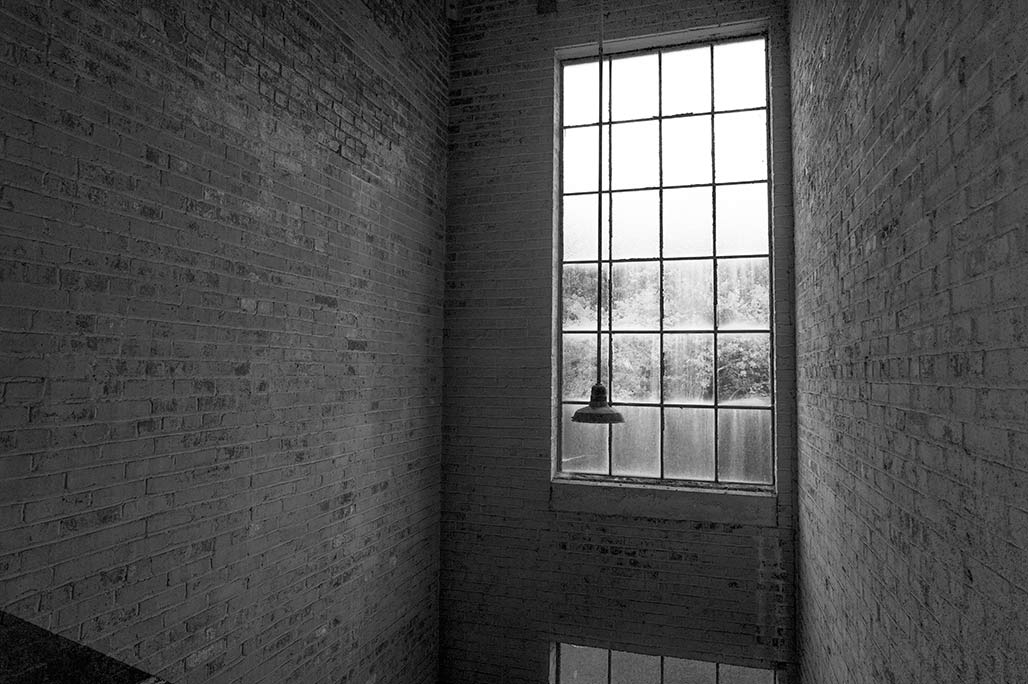 window in a stairwell
