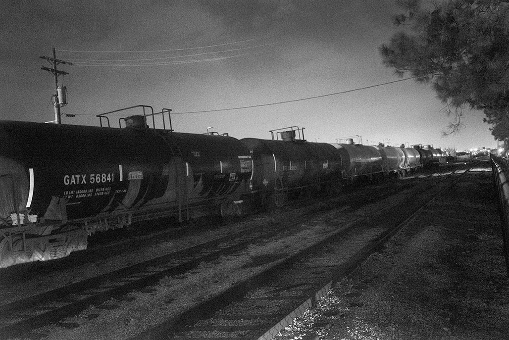 railyard at night