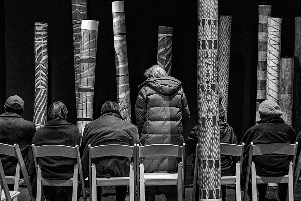 112 memorial poles by 55 artists from remote Aboriginal communities in the tropical northern region of Australia known as Arnhem Land.