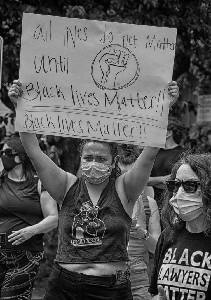 protestor BLM sign