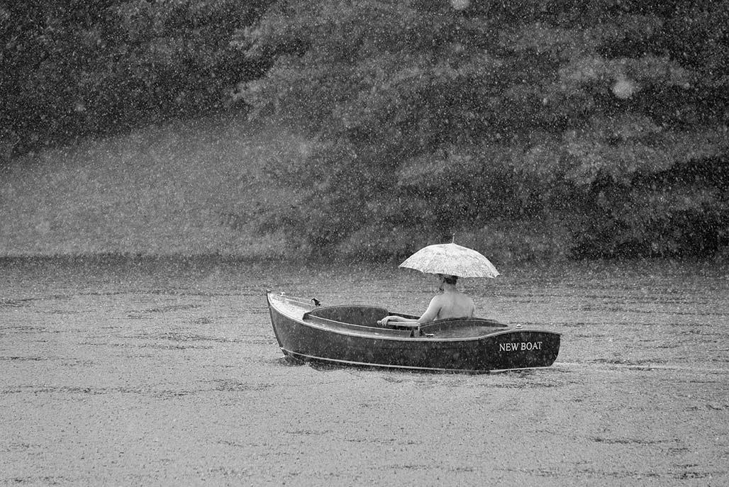 boat umbrella rain